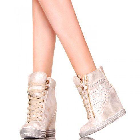 Sneakers Y Zlote Koturny Z Cyrkoniami Wedge Sneaker Shoes Sneakers
