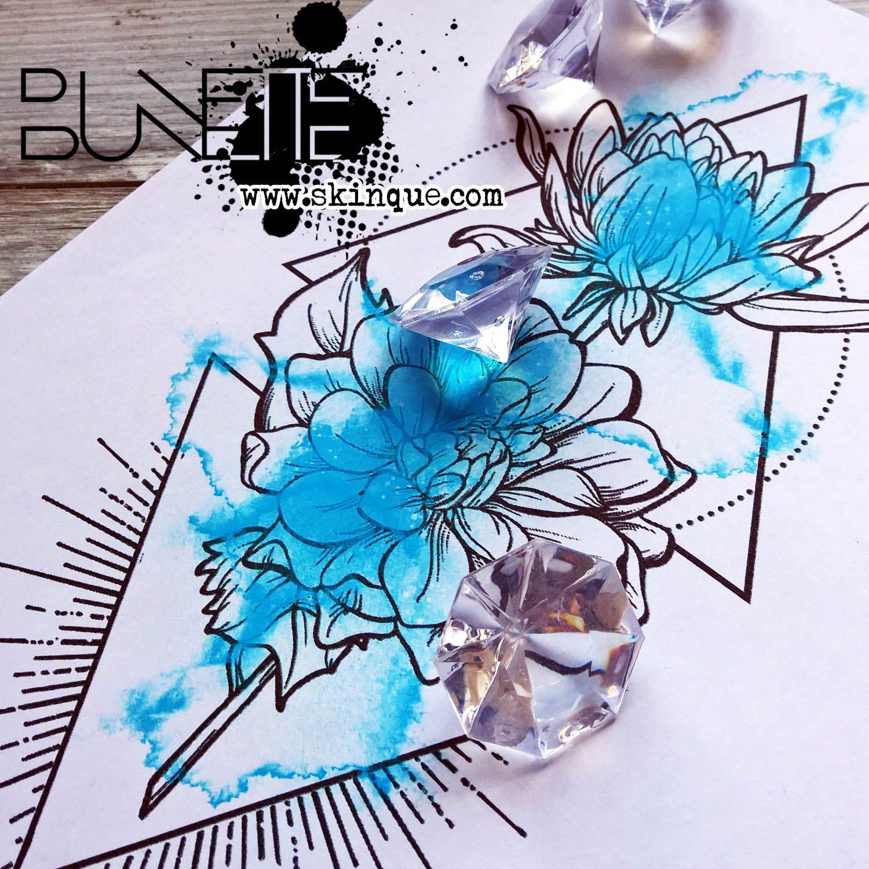 Watercolor dahlia flower geometric tattoo idea inspiration bunette ...
