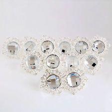12 Pcs Wedding Banquet Dinner Decor Silver Diamond Napkin Ring Serviette Holder