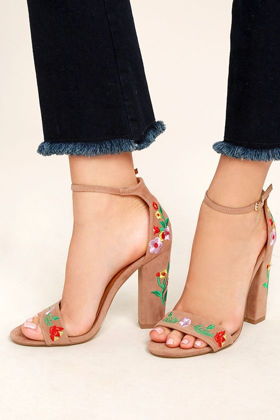 Be unstoppable in the Suri Taupe Embroidered Ankle Strap Heels! These  stunning heels have a