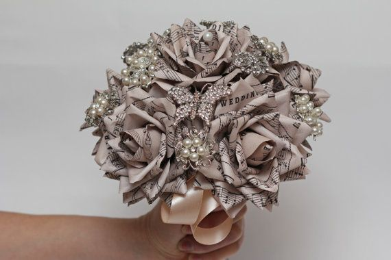Sheet music brooch bouquet paper flower brooch bouquet wedding brooch bouquet wedding bouquet paper flower by flowerdecoration mightylinksfo