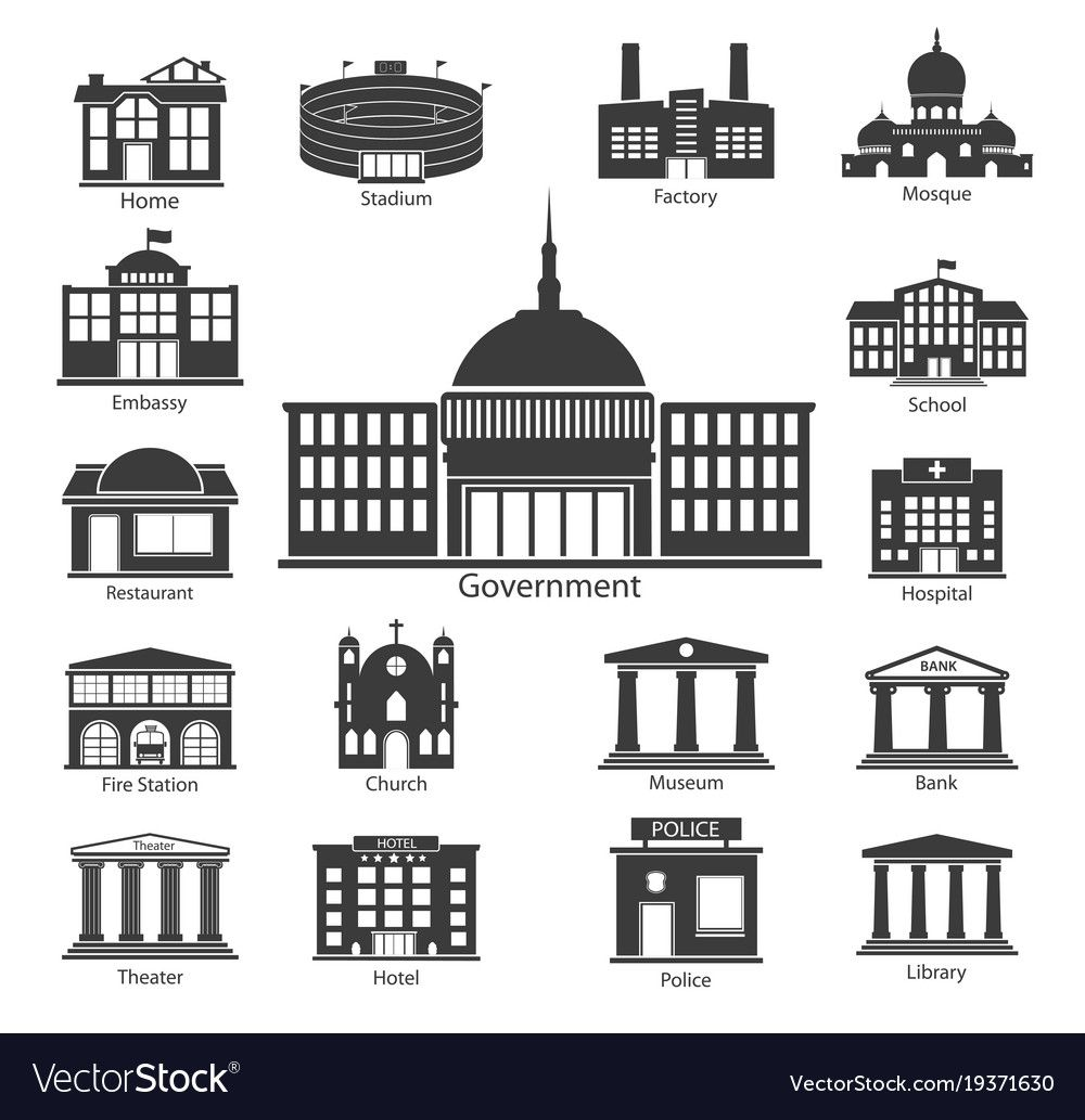 Building Icons Set Government Buildings Royalty Free Vector Ad Set Government Building Icons Ad Building Icon Vector Free City Vector