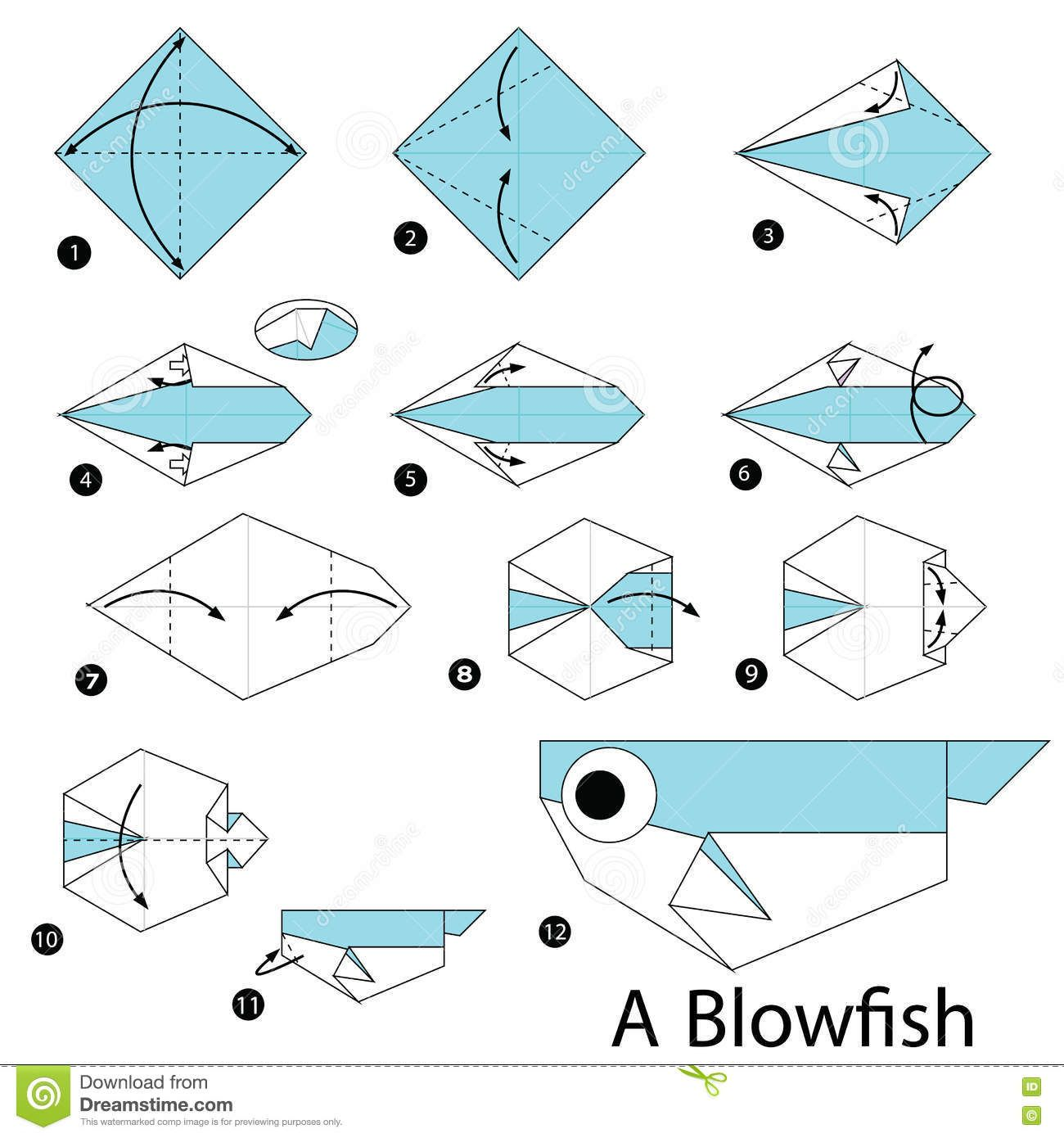 Step by step instructions how to make origami a blow fish for Origami fish instructions