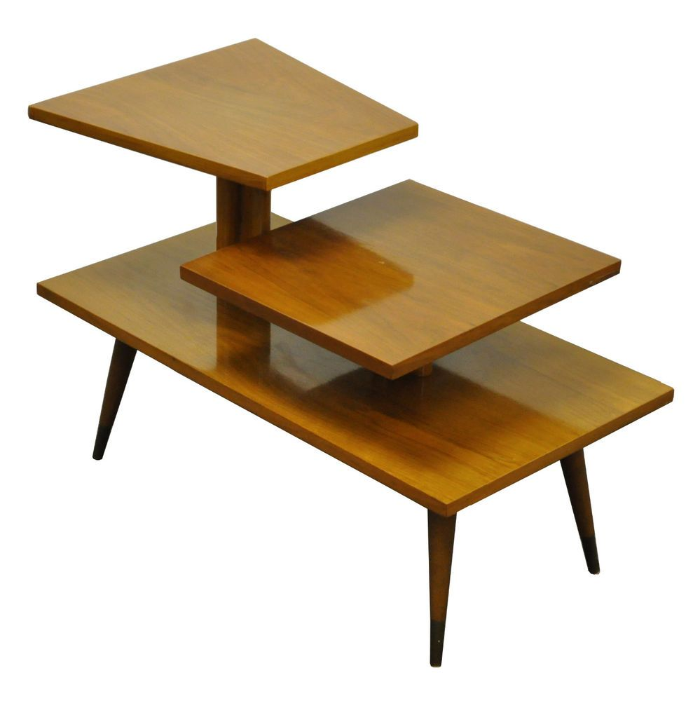 Vtg Mid Century Modern 3 Tiered Sculptural Walnut Side Table
