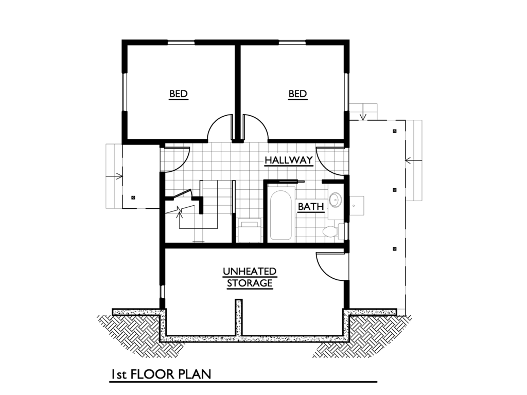 Cottage Style House Plan - 2 Beds 1 Baths 1000 Sq/Ft Plan ...