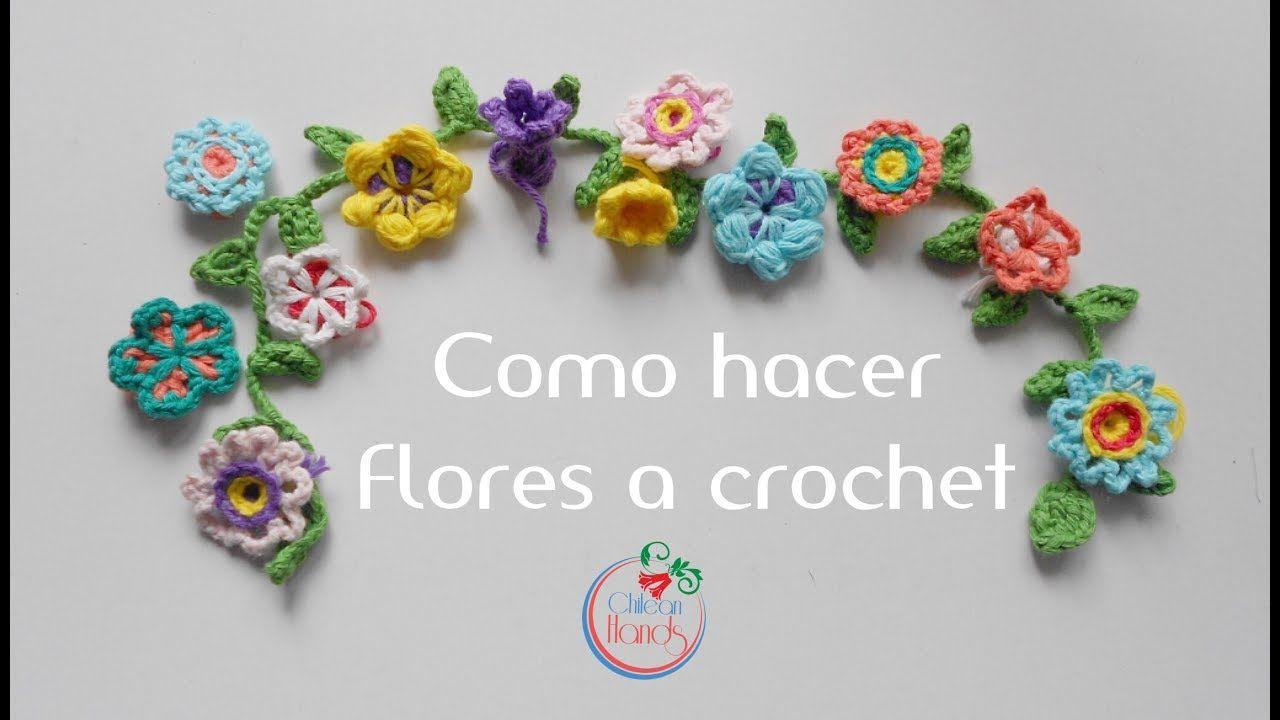Como hacer flores a crochet Espanol Puntos y Puntadas