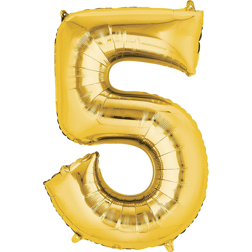 34in Gold Number Balloon (5) in 2020 Party city balloons