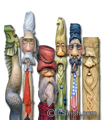 Cane and walking stick wood carving