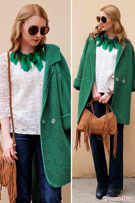 44a326f73830 Пальто оверсайз спицами. Описание | Вязание/knitting12 | Вязание ...