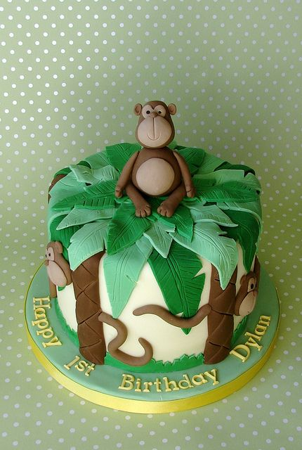 Sensational Monkey Themed 1St Birthday Cake For Dylan With Images Monkey Personalised Birthday Cards Xaembasilily Jamesorg