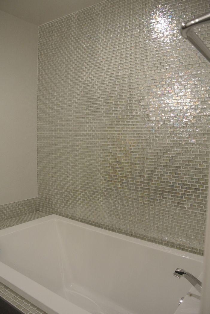 Iridescent Pool Glass Tile Clear 1x2 Diy Bathroom
