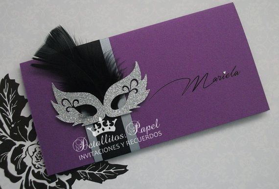 Invitation masks Carnival mask wedding & sweet sixteen Invitation Mask Masquerade