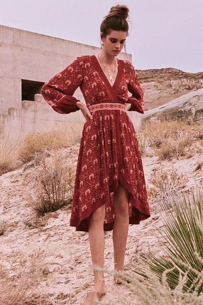 Retro Vacation Big Hem Bohemian Floral Midi Dress 2