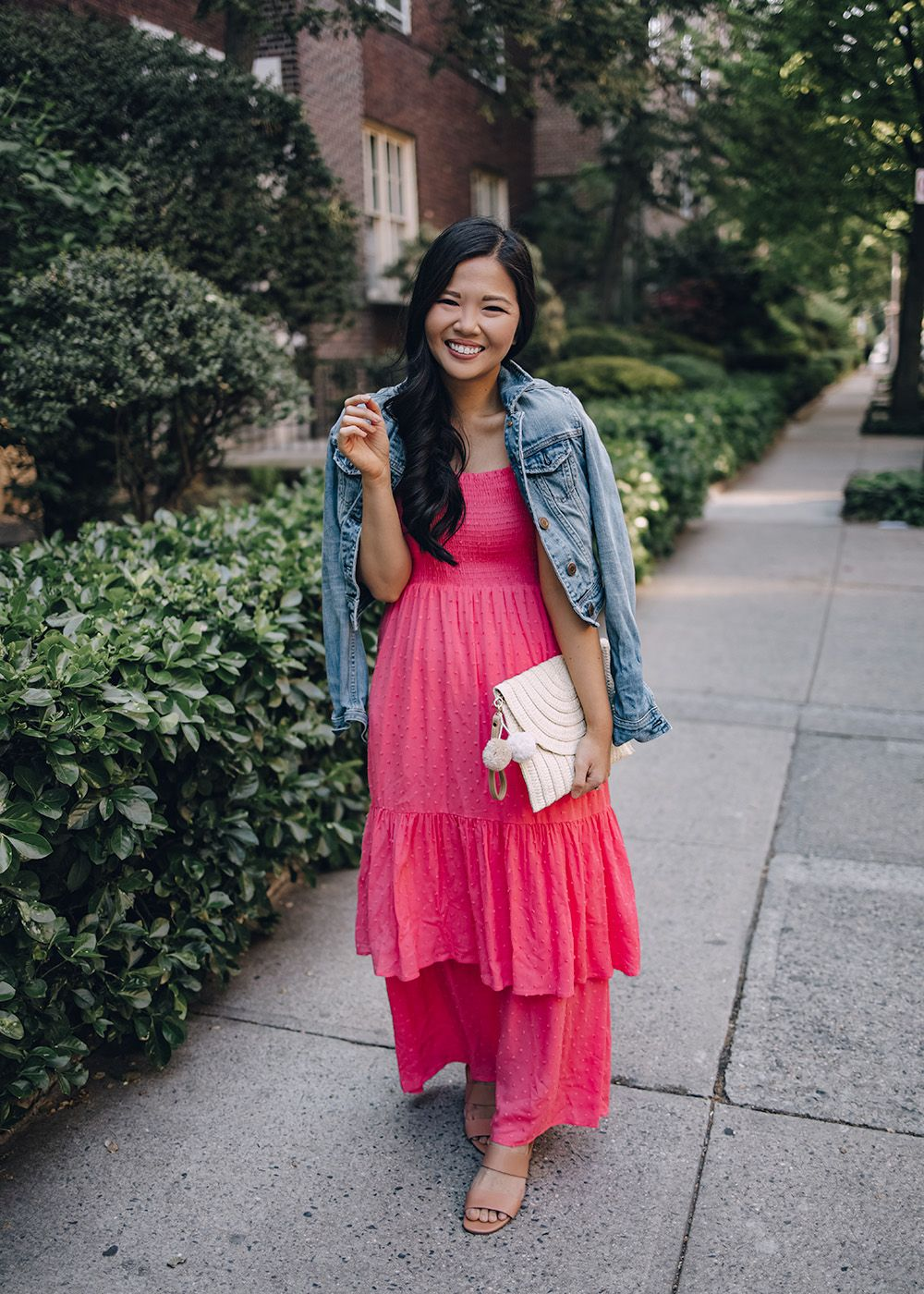 Summer Outfit For Women Denim Jacket Pink Maxi Dress With Ruffles Bright Pink Maxi Dress Summer Maxi Dress Bright Outfits [ 1400 x 1000 Pixel ]