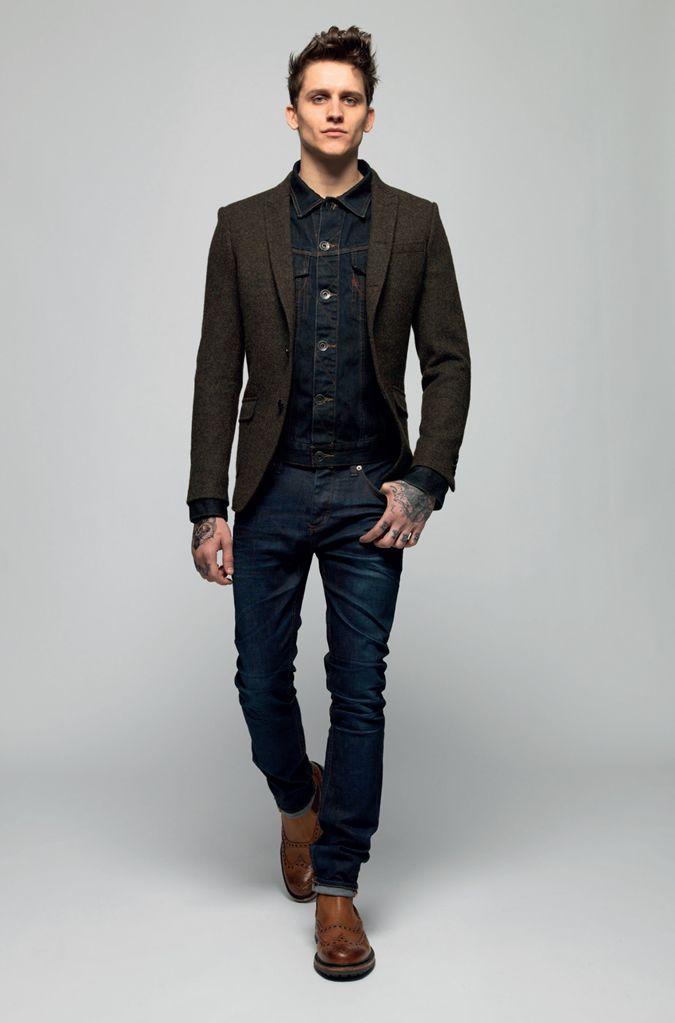 Superdry AW13 - brown wool sport coat, dark denim jacket/shirt ...