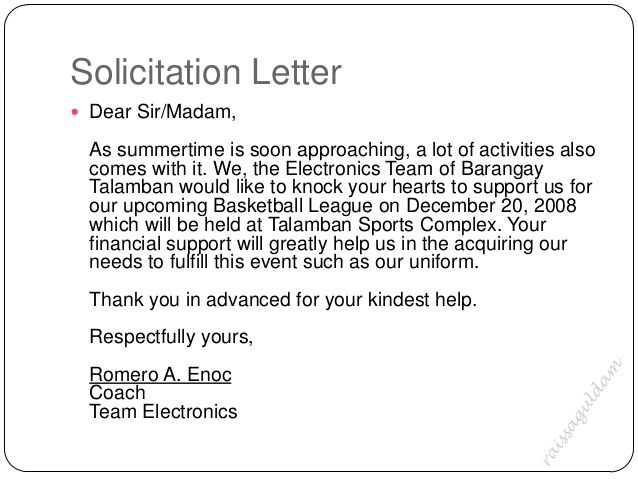 solicitation letter for basketball uniform google search