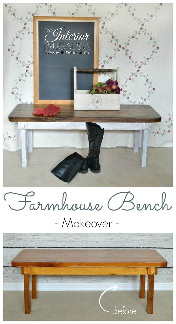 Farmhouse Bench with wood slat seat Before & After | The Interior Frugalista
