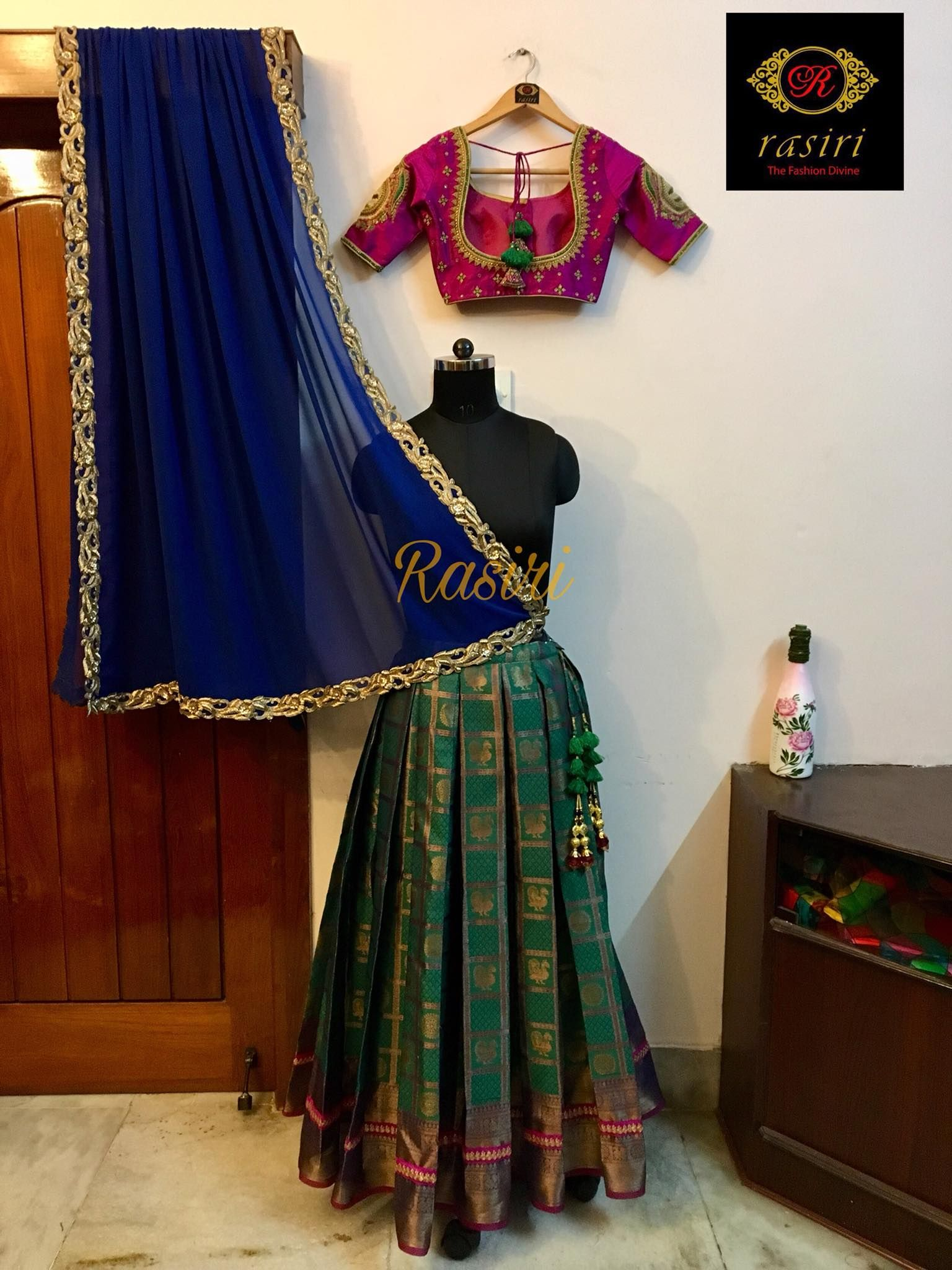 15d161dfcb Customised lehenga the traditional South Indian style. Beautiful bottle  green color lehenga and pink color