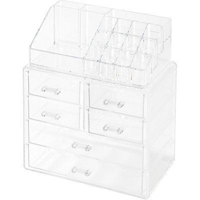 Clearly Chic Deluxe 16 Compartment Cosmetic Organizer With 6 Drawers Drawers Cosmetic Organizer Small Drawers