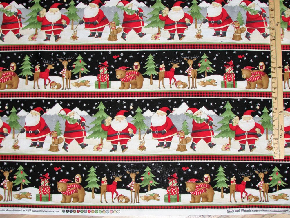 Santa and Friends  Debbie Mumm Sampler Christmas Fabric by the 1/2 Yard  #67543…