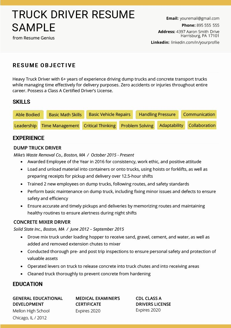 17+ Truck driver resume goal Examples