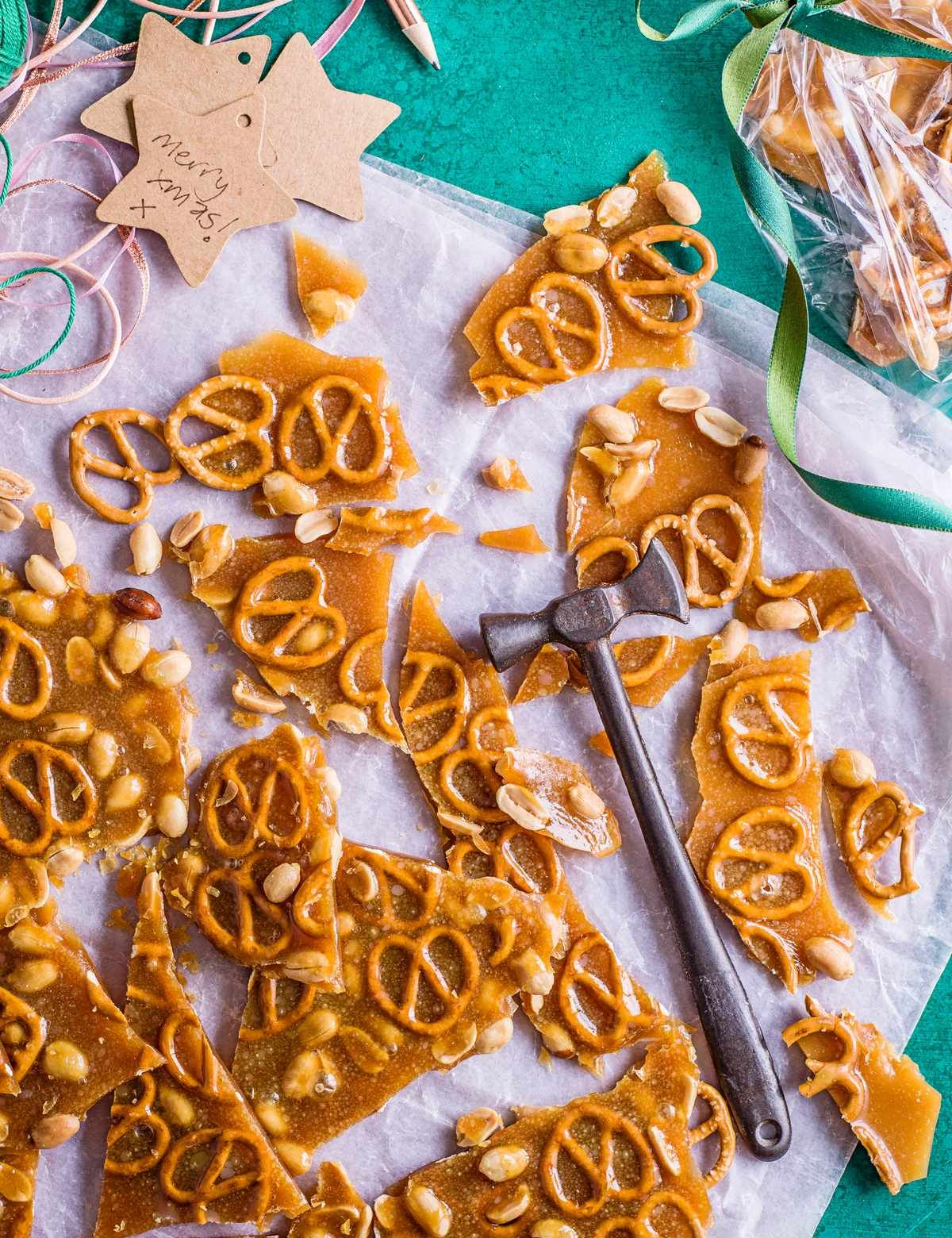 Salted peanut and pretzel caramel brittle #prettypackaging