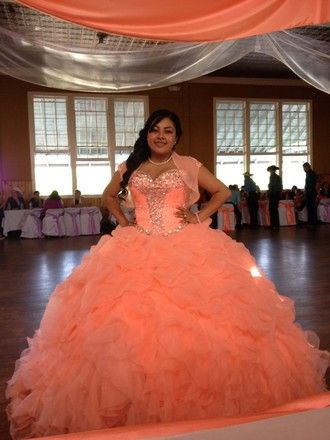 coral quinceanera dresses for damas - Google Search | quince ...