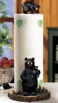 Amazon.com: Lodge Black Bear Kitchen Paper Towel Holder Decor: Home U0026  Kitchen