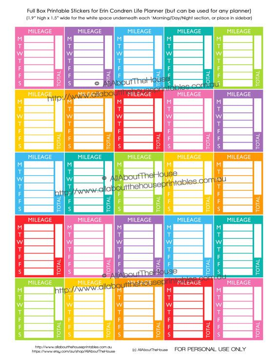 mileage stickers sidebar weekly daily tracking planner stickers printable calendar business direct sales erin condren happy planner