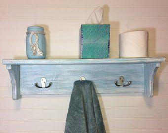nautical bathroom wall shelf with hooks, bathroom shelving