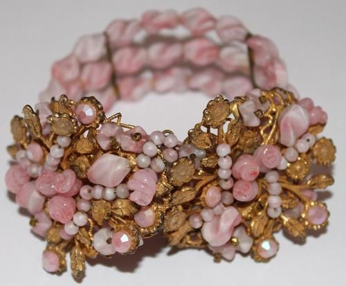 Early Miriam Haskell Pink Glass Bead Wrap Bracelet with Beaded Center Piece | eBay