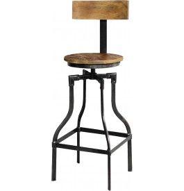 tabouret de bar industriel acacia métal | microbrasserie ... - Chaise De Bar Metal