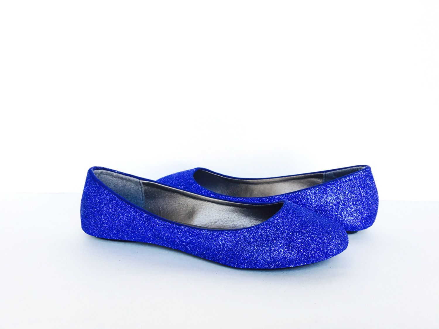 Blue Flats Glitter Shoes Royal Ballet Sparkly Wedding Cobalt