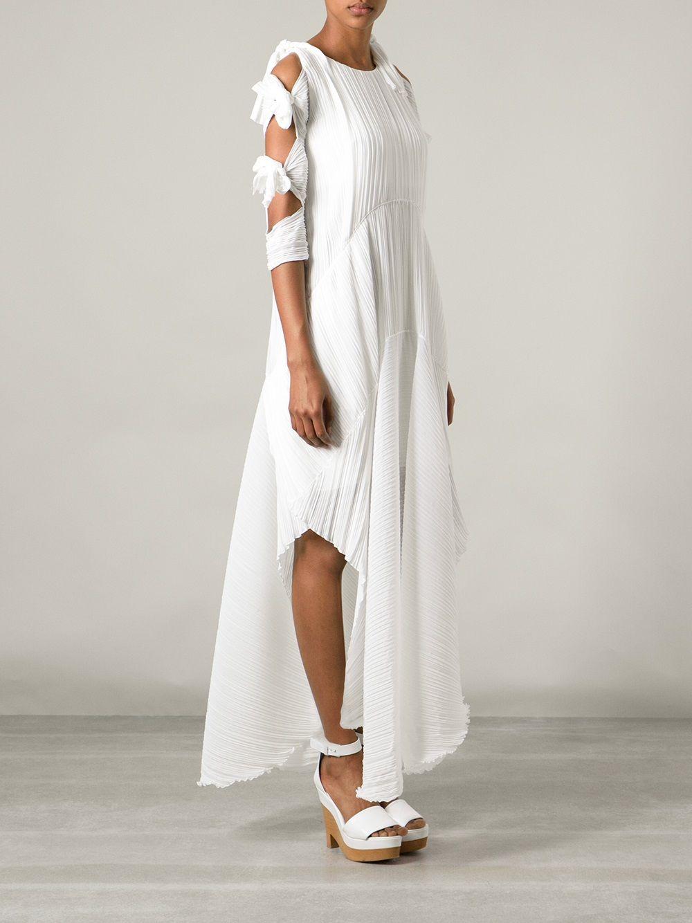 Chloe White Pleated Tie Detail Dress Lyst Dress Details Clothes Dresses [ 1334 x 1000 Pixel ]