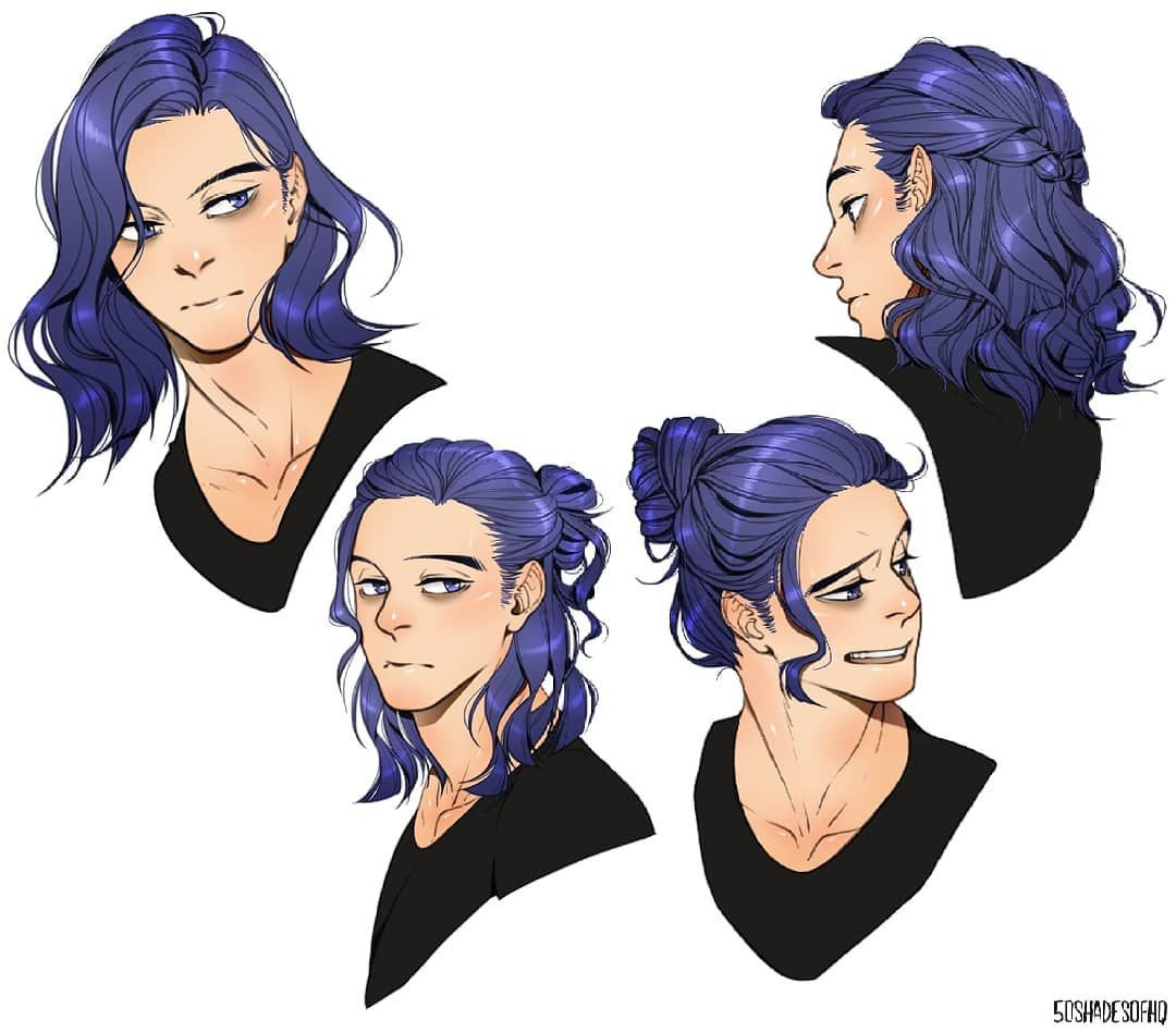 I Finally Finish Drawing Shinso And His Unicorn Purple Hair It Took Me So Long To Finish Him Because I How To Draw Hair Long Hair Drawing Character Design