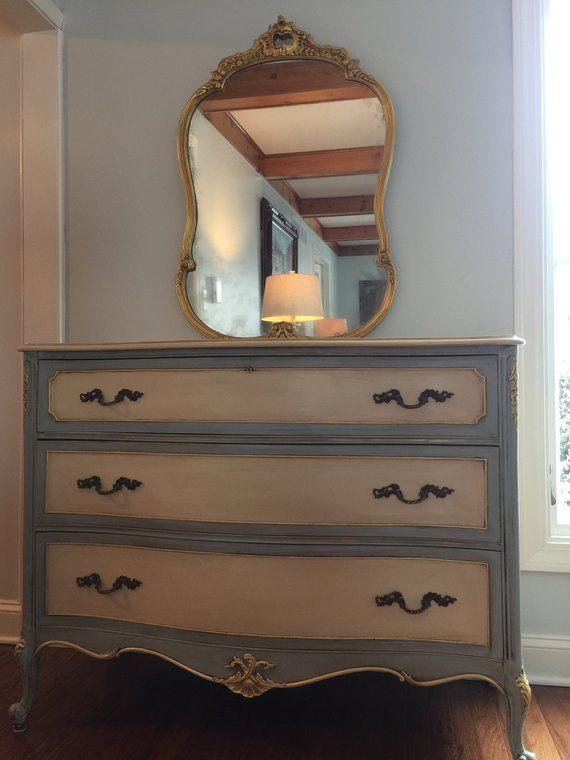 Vintage bow front dresser and mirror, Old world charm, hand ...