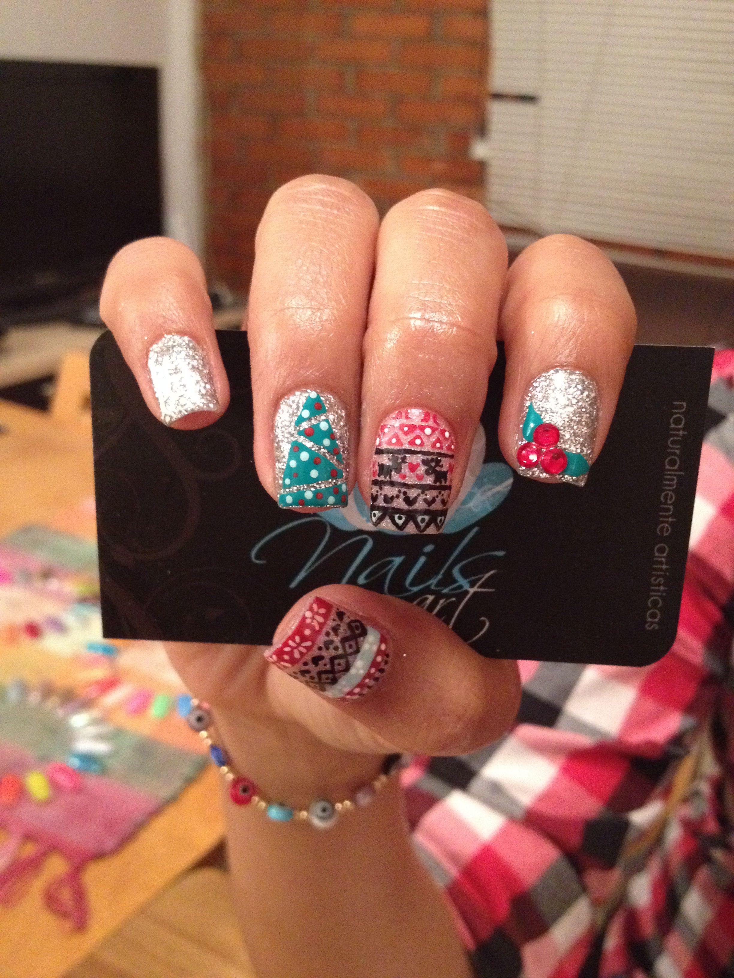 nails art acrylic christmas