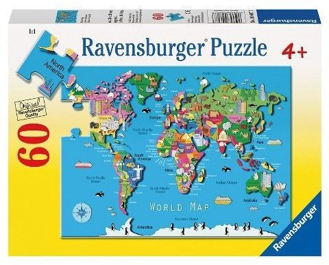 World map 60pc puzzle jigsaw puzzles products ravensburger world map 60pc puzzle gumiabroncs Choice Image