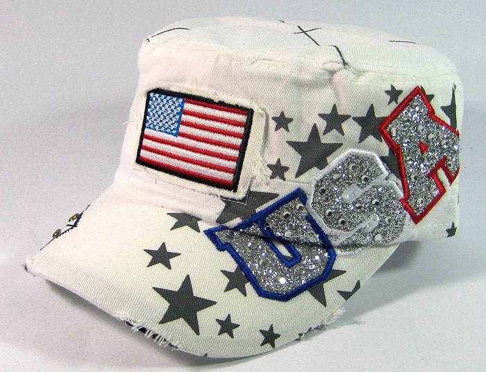 Rhinestone USA & American Flag Glitter Vintage Cadet Hats Wholesale - White