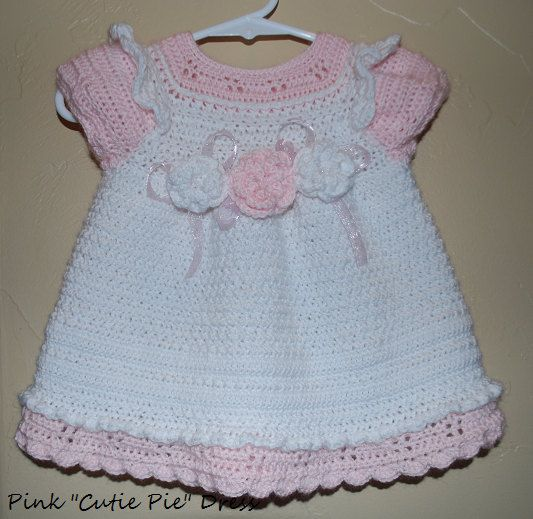 "Photo of Items similar to Pink ""Cutie Pie"" Crochet Dress for Baby Girl, 12 months on Etsy"