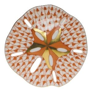 """Herend Hand Painted Porcelain Figurine """"Sand Dollar"""" Rust Fishnet Gold Accents."""