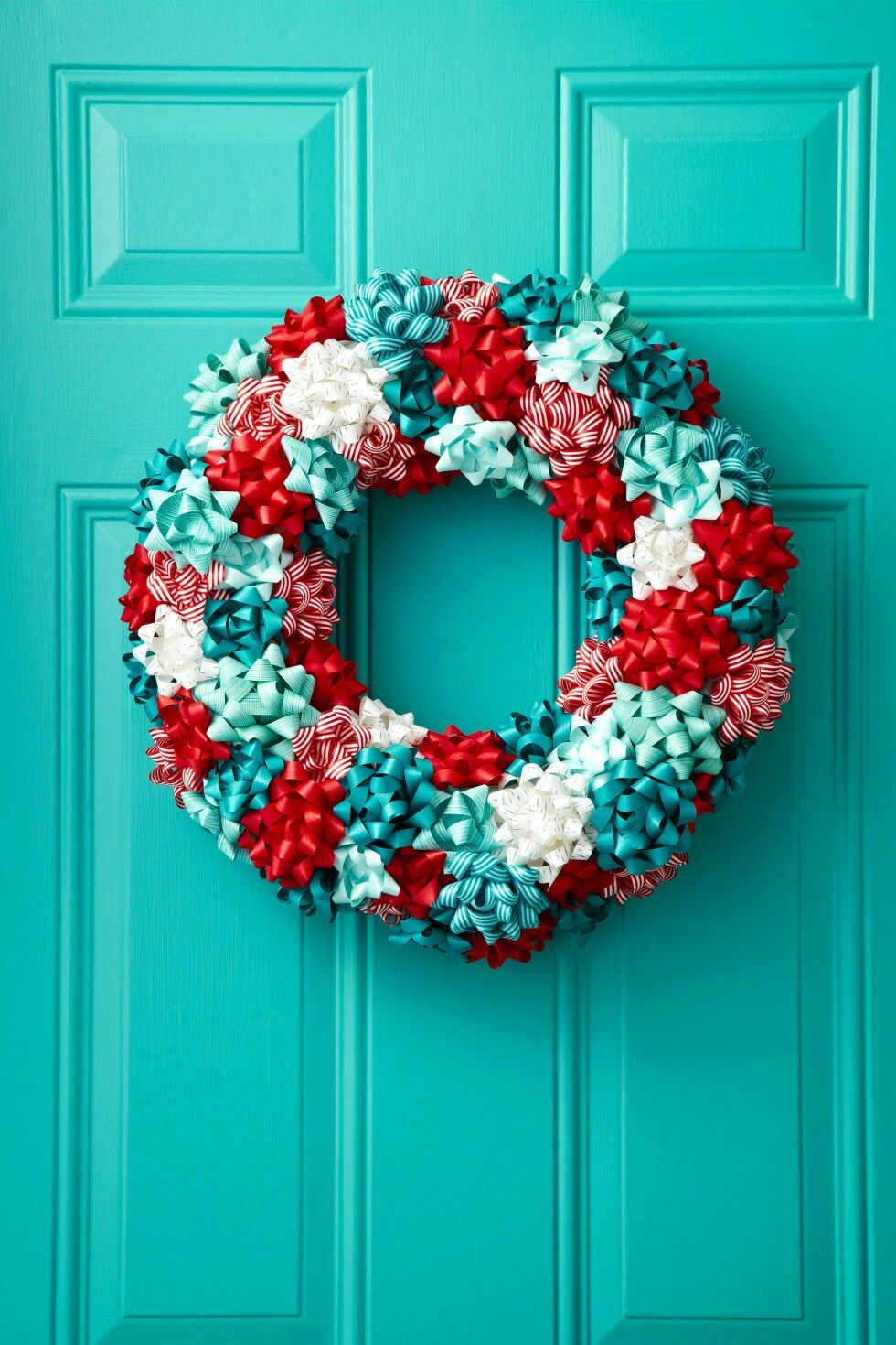 Wreath made out of gift bows Pin