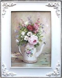 Original Painting - Flowers in an Enamel Coffee Pot - Postage is included in the price Australia wide