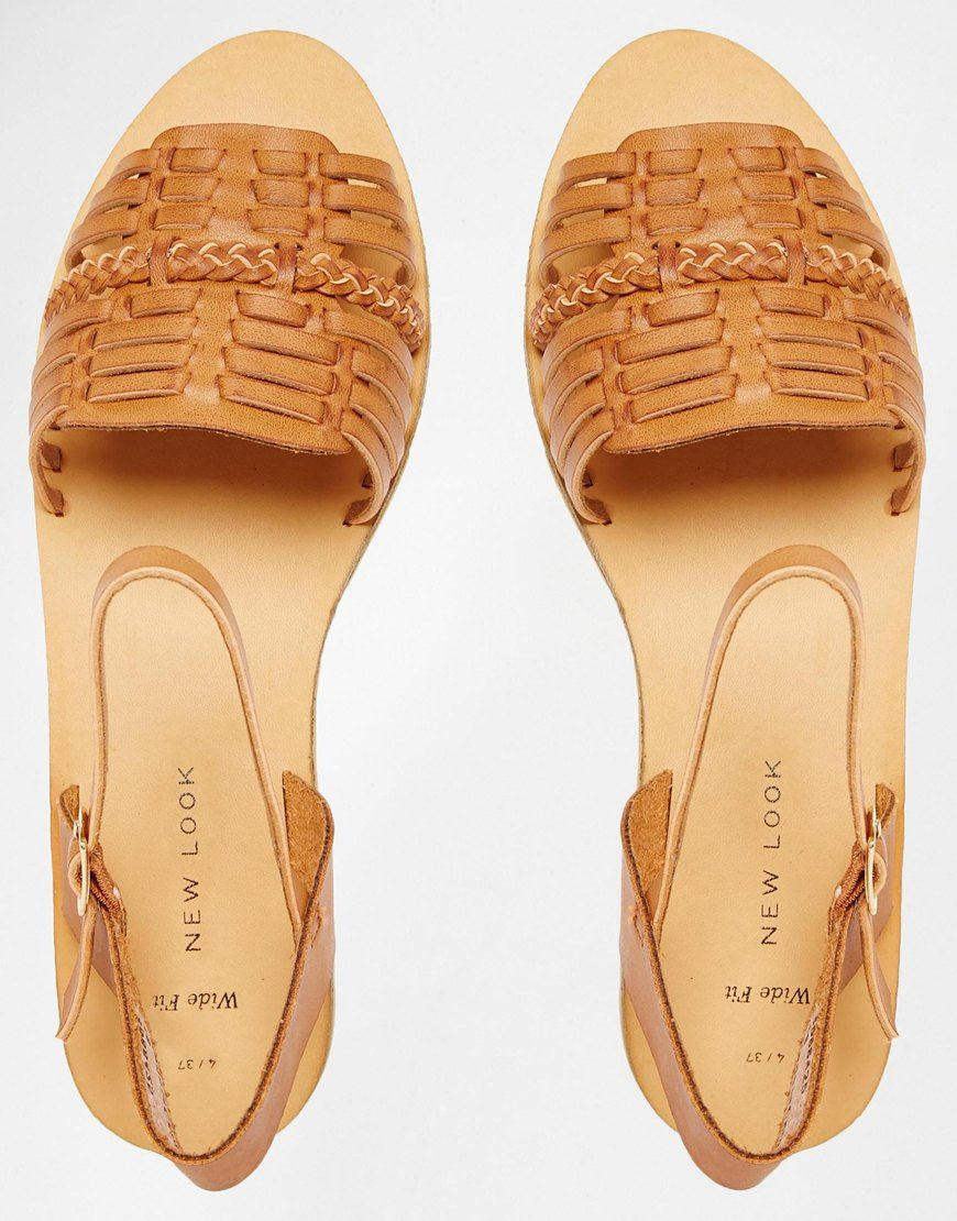New Look Wide Fit Woven Sandal at asos