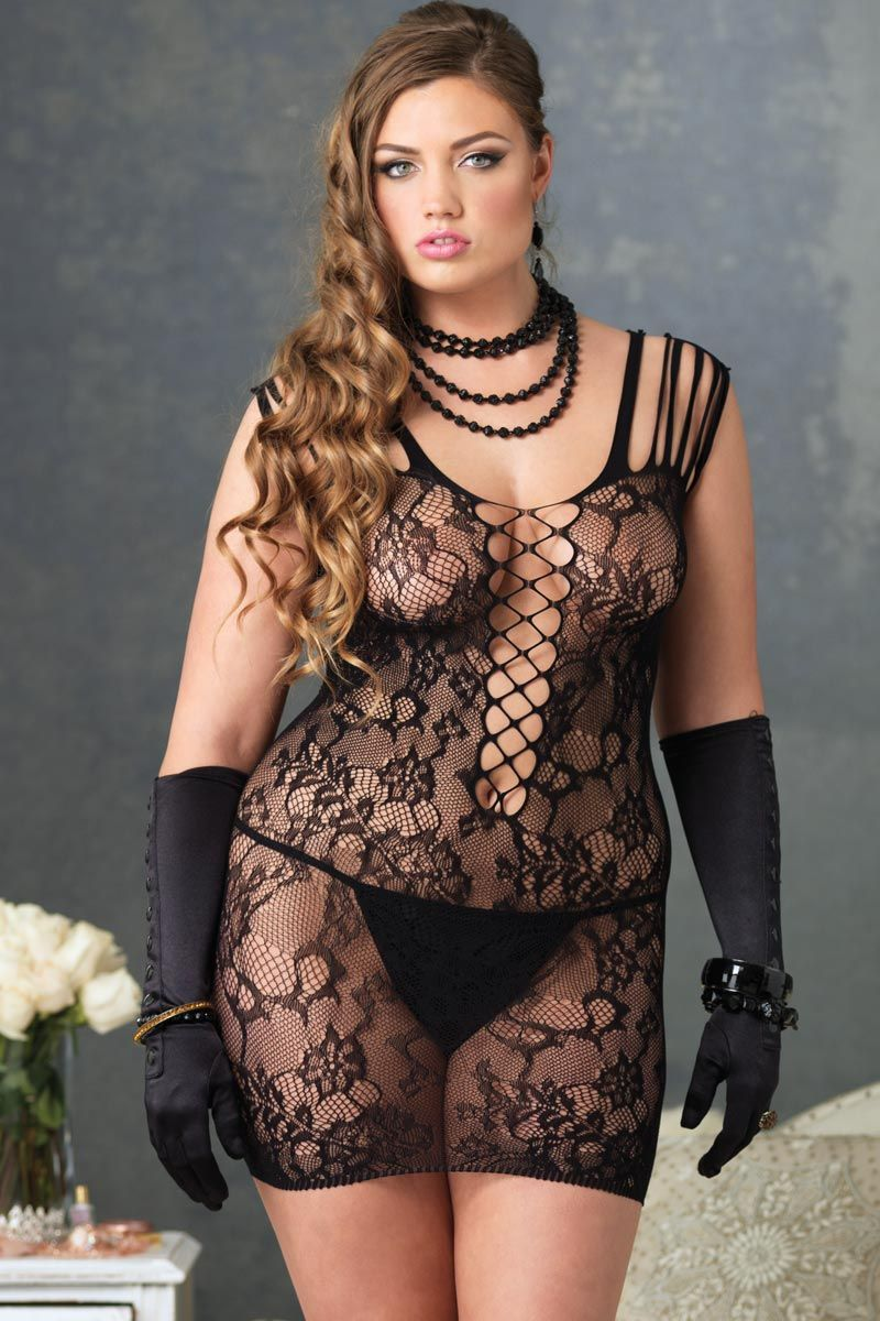 Plus Size Lingerie Floral Lace Mini Dress | Sexy Plus Size ...