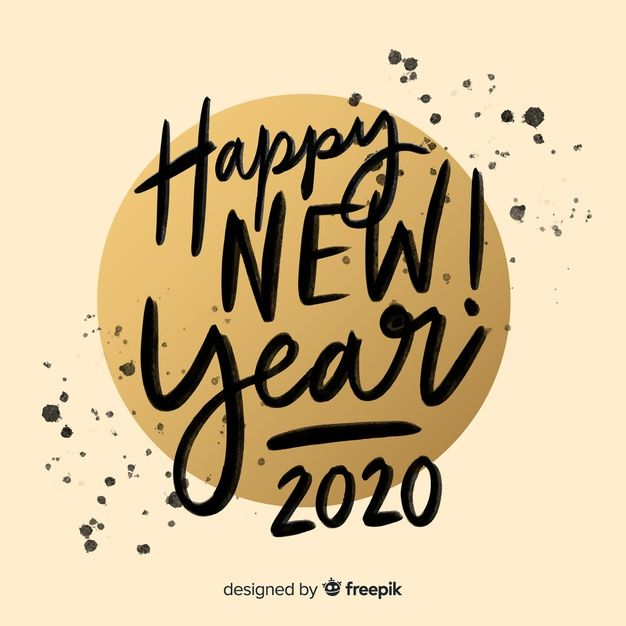 Download Lettering Happy New Year 2020 In Ink for free