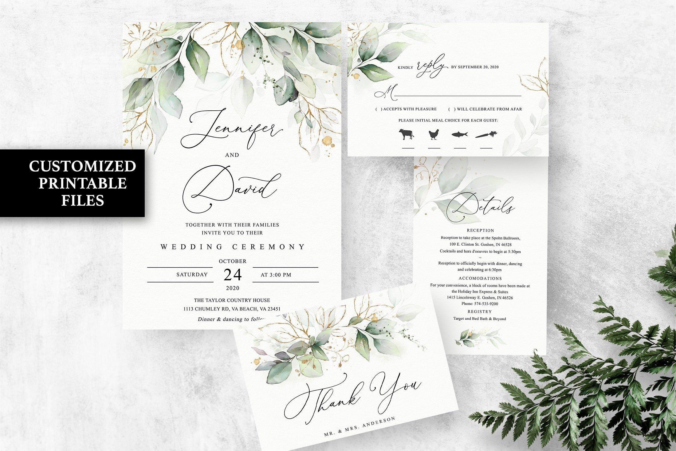 Greenery Wedding Invitation Suite Boho Wedding Invitation Etsy Etsy Wedding Invitations Eucalyptus Wedding Invitation Wedding Invitations Boho