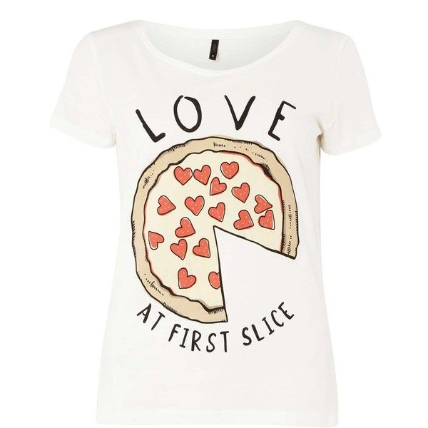 Dorothy Perkins **Only White 'LOVE PIZZA' T-shirt (53 ILS