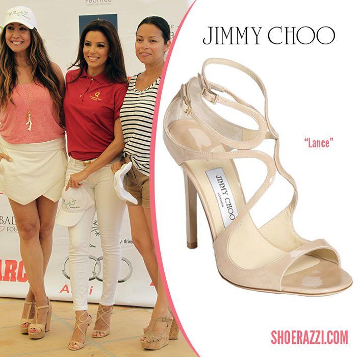 Eva Longoria in Jimmy Choo Lance Nude Patent Leather Sandals - ShoeRazzi