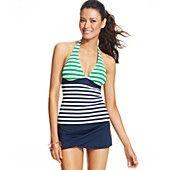 Anne Cole Striped Halter Tankini Top & Tulip Swim Skirt